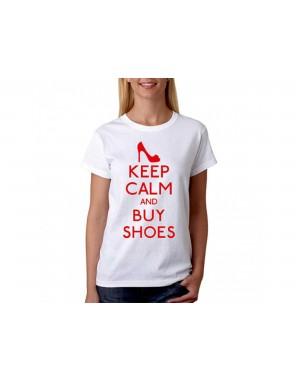 Vtipné tričko - Keep Calm and buy shoes